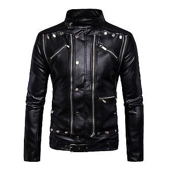 Allthemen Men's Stand Collar Metal Buttons Zipper Leather Jacket