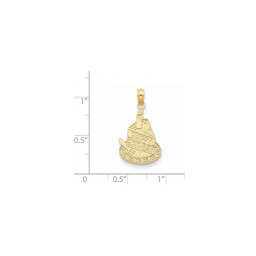 14k Yellow Gold Polished Textured back Slice Of Cake With Candle Happy Birthday Pendant Necklace Jewelry Gifts for Women