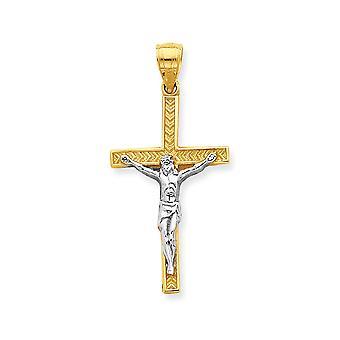 10k Gul guld Tekstureret poleret og Rhodium Krucifiks Vedhæng Smykker Gaver til kvinder - 0,9 Gram