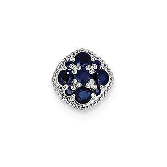 925 sterling zilver gepolijst Rhodium vergulde rhodium plated Sapphire vierkante hanger Slide-. 65 CWT