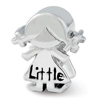 925 Sterling Silber poliert doppelseitig Finish Reflexionen kleine Schwester Mädchen Perle Anhänger Anhänger Halskette Schmuck Geschenk