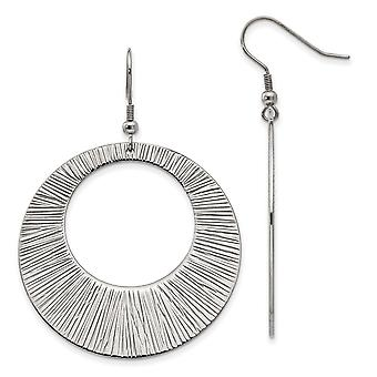 Stainless Steel Polished Shepherd hook Textured Circle Long Drop Dangle Earrings Jewelry Gifts for Women