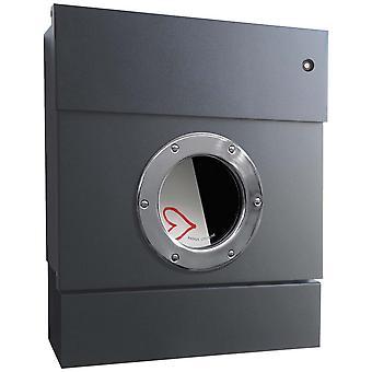 Antracite de caixa de correio Letterman 2 raio cinzento RAL 7016 com anel LED branco + papel jornal - 505 G KW