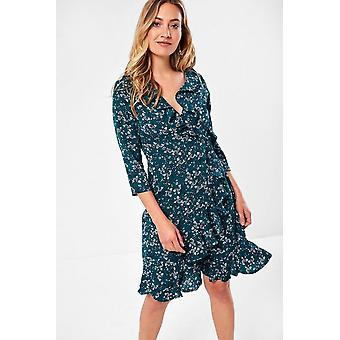 iClothing Reagan Ditsy Floral Wrap Dress In Emerald-16