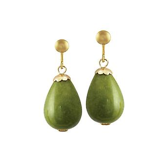 Eternal Collection Fontana Olive Green Jade Gold Tone Drop Clip On Earrings
