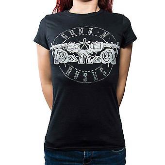 Guns N Roses T Shirt Bullet Diamante Logo Official Womens New Black Skinny Fit