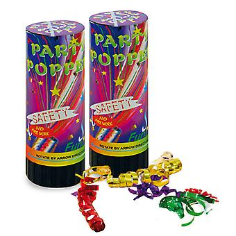 Party Popper of 2 party birthday stained table rockets