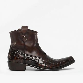 Machete Crockett Mens Leather Reptile Cuban Heel Boots Brown