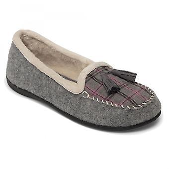 Padders Tassel Ladies Felt Wide (e Fit) Slippers Grey