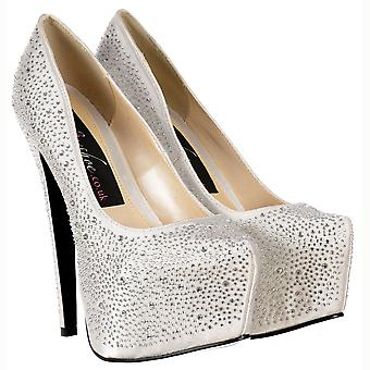 Onlineshoe Diamante Crystal High Heel Stiletto Concealed Platform Shoes - Off White Ivory Satin
