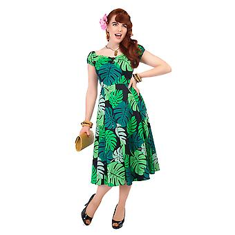 Collectif Vintage Women's Green Palm Print Dolores Doll 1950's Flared Dress