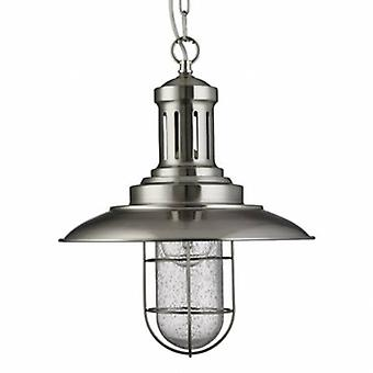 1 luz do teto pingente de prata de cetim, vidro semeado