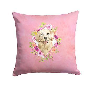 Golden Retriever Pink Flowers Fabric Decorative Pillow