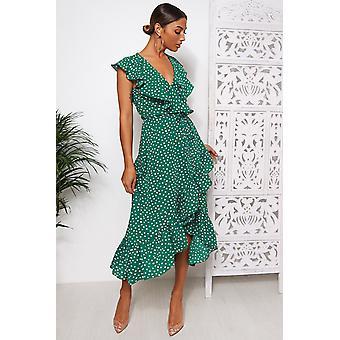 Mica Polka Dot Frill Wrap Midi Dress