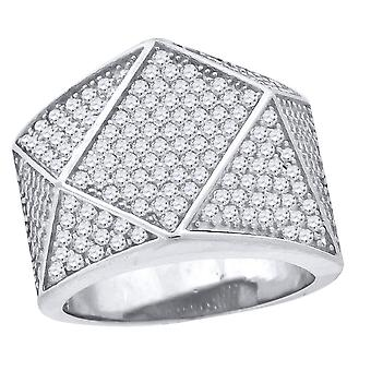 925 Sterling Silver CZ Cubic Zirconia Simulated Diamond Geometric Shape Mens Fashion Ring Jewelry Gifts for Men - Ring S