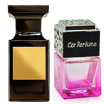 Tom Ford Tuscan Leather For Him Inspired Fragrance 8ml Pink Bottle Chrome Lid Car Air Freshener Vent Clip