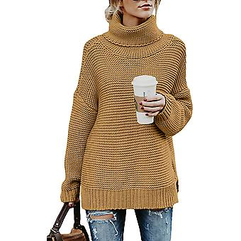 ANFTFH Women Turtleneck Long Sleeve Chunky Knit Casual Loose Sweater Pullover...