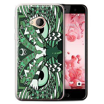 STUFF4 Gel TPU Case/Cover for HTC U Play/Alpine/Owl-Green/Aztec Animal Design