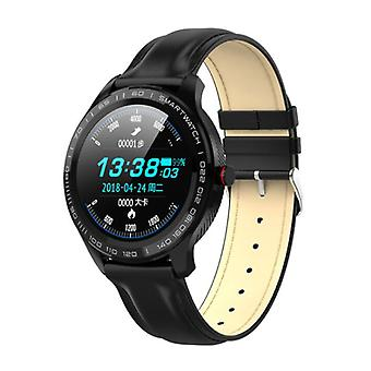 Lokmat Sports Smartwatch Fitness Sport Activity Tracker Smartphone Watch iOS Android IP68 iPhone Samsung Huawei Black Leather