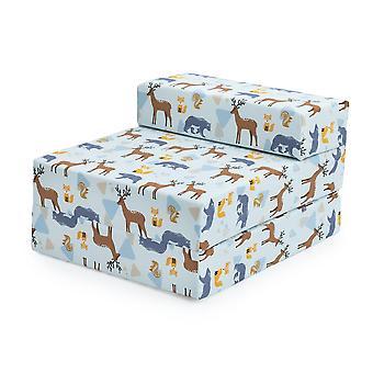 Pronto Steady Bed Kids Kids Fold Out Sleepover Z Bed Sofá | Cadeira única dobrável infantil | Ótimo para sala de estar do quarto de brinquedo | Leve e confortável (Wildwood)