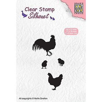 Nellie's Choice Clearstamp - Silhouette rooster, hen and chicks SIL060 7x9mm - 25x23mm (02-20)