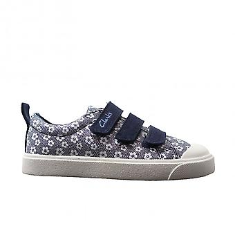 Clarks City Vibe Kids Navy Floral Canvas Childrens Rip Tape Casual Shoes