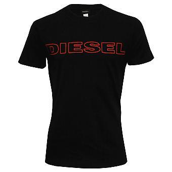 Diesel Premium Logo Crew Neck t-paita, musta/punainen