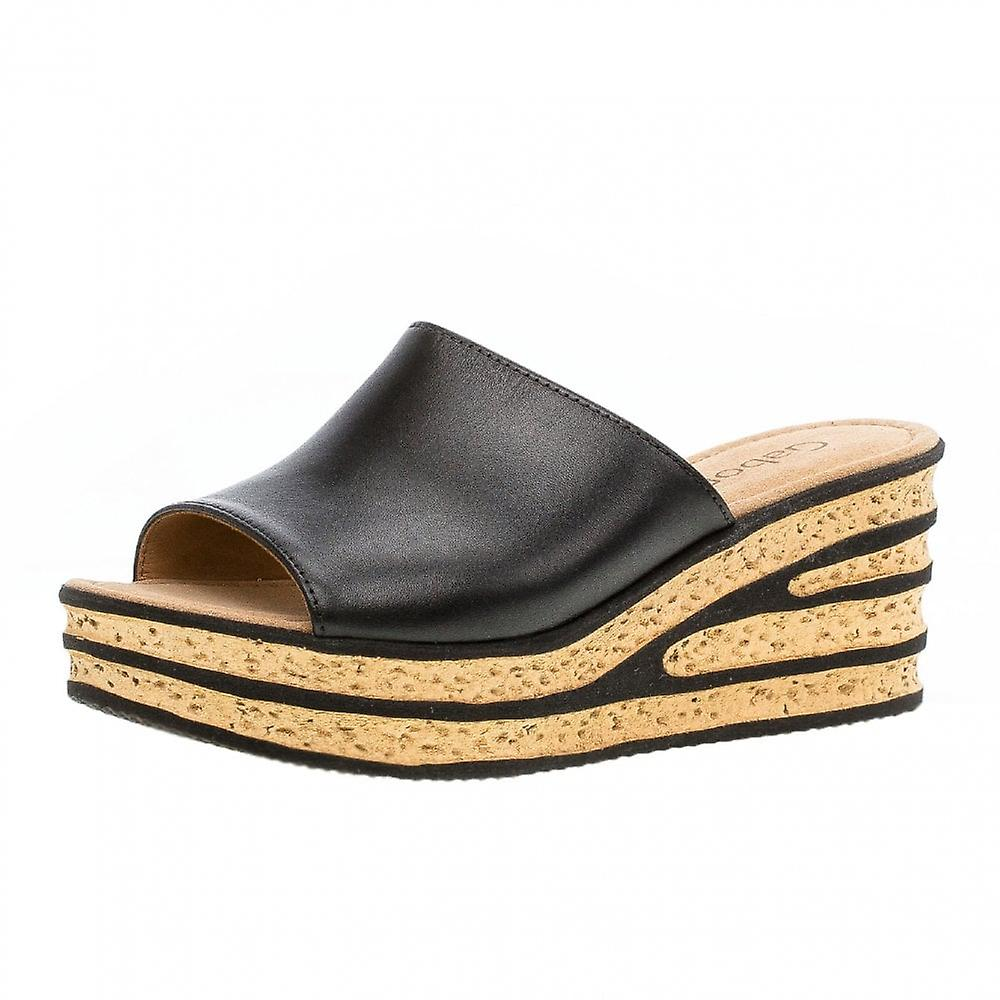 Gabor Trixie Modern Slip On Wedge Sandals In Black m5qOX
