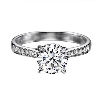 0.92 Carat F VS2 Diamond Engagement Ring 14K White Gold Ring with Accents Channel Set Cathedral