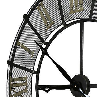 Charles Bentley Smeedijzeren Outdoor Tuin Metalen Klok Gouden Romeinse cijfers - Zwart en goud, weerbestendig Dia 87 X D6CM