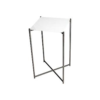 Gillmore White Marble Square Lamp Table With Gun Metal Cross Base