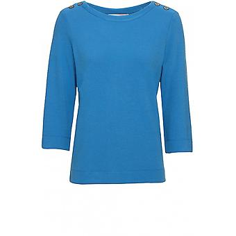 Bianca Blue Fine Ribbed Top