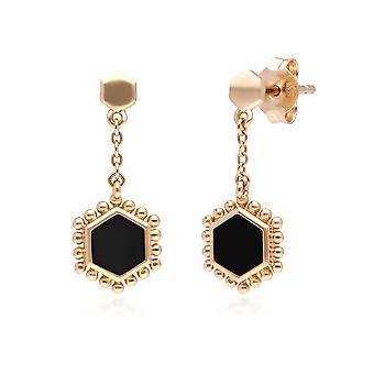 أسود أونكس شقة شريحة الأقراط قطرة في الذهب مطلي الفضة الاسترليني 271E020802925