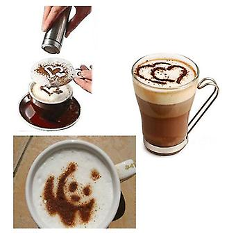 16Pcs Plastic Coffee Mold - Barista Art Stencils Milk Cake  Cupcake Decor - Barista Stencils Template Mold Strew Pad Duster Spray Tool