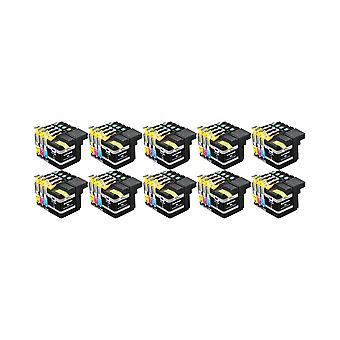 RudyTwos 10 x ersättning för bror LC127XL uppsättning bläck enhet Svart Cyan Magenta & Gul kompatibel med DCP-J132W, DCP-J152W, DCP-J172W, DCP-J552DW, DCP-J752DW, DCP-J4110DW, MFC-J245, MFC-J470DW, MFC-J6