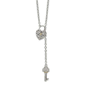 925 Prata Esterlina com 14k Diamond Love Heart Lock e Key Necklace Jewely Gifts para mulheres