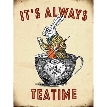 Alice In Wonderland Vintage Metal Rabbit Wall Sign
