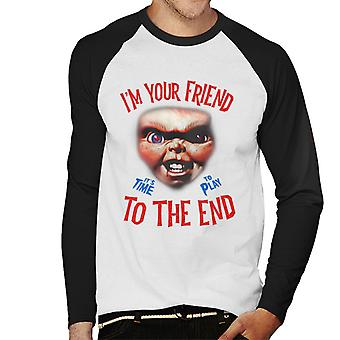 Chucky Im Your Friend To The End Men's Baseball Long Sleeved T-Shirt