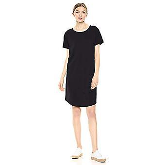 Marke - Tägliche Ritual Frauen's gelebte Baumwolle Roll-Sleeve Crewneck T-Shirt Kleid, schwarz, Medium