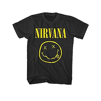 Nirvana Kids T Shirt Yellow Smiley Band Logo new Official Black Ages 3-10 yrs
