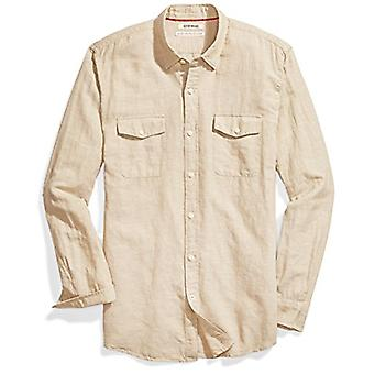 Marque - Goodthreads Men's Standard-Fit Long-Sleeve Linen and Cotton Bl...