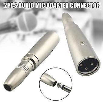 2 Pcs Adapter Connector 6.5mm Female To Male For Jack Audio Mic Accessories Nd998 (as Show)