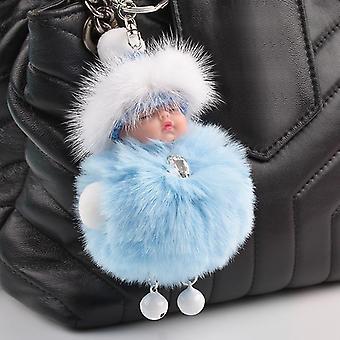 Cute Sleeping Baby Doll Fluffy Pom Pom Faux Fur Plush Keychains