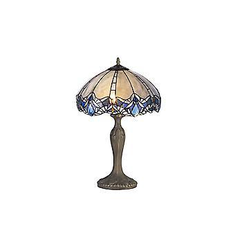 Luminosa-valaistus - 2 kevyt kaareva pöytävalaisin E27 40cm Tiffany Shadella, sininen, kirkas kristalli, ikääntynyt antiikki messinki