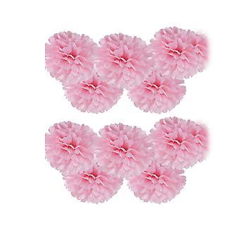 10PCS Pom-poms Flower Ball Wedding Party Decoratie 30cm Roze