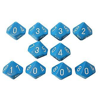 Chessex Opaque 10 x D10 Set - Light Blue/white