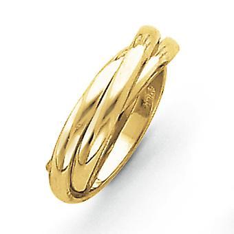 14k gule gull hul polert rullende Ring - Ring størrelse: 4 til 8,5