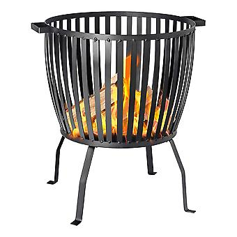 Cast Iron Fire Pit | Outdoor Garden Patio Heater Brazier Basket for Wood, Charcoal - 53cm Diameter