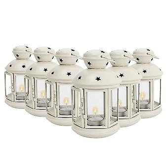 Nicola Spring Candle Lanterns Tealight Holders Metal Hanging Indoor Outdoor - 20cm - Cream - Set 6