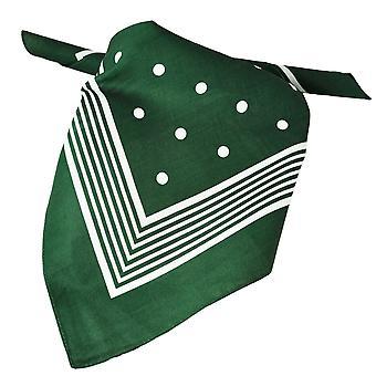 Ties Planet Green With White Stripes & Polka Dot Bandana Neckerchief